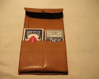 Vintage 1980's Light Brown Leather Case for Playing Cards