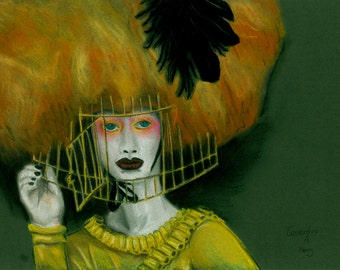Pastel Illustration: Caged Beauty