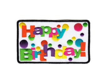 bf77 Happy Birthday Iron on patches Embroidery Application +++ Free Shipping +++