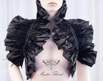Black shiny taffeta shrug bolero with black feathers-gothic bolero-victorian bolero-shrug bolero-ruffle bolero-featherd bolero