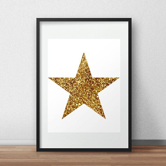 Gold Glitter Wall Decor : Printable wall art gold glitter star space by