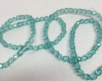 Czech Fire-Polished Light Aqua Beads, Aqua Beads, Czech Beads, Czech Glass Beads, Beads