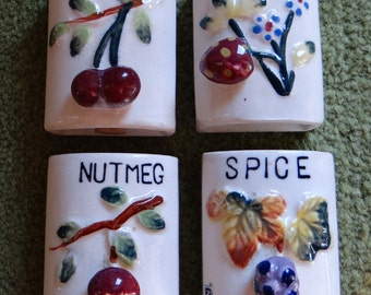 Set of Four Ceramic Spice Jars