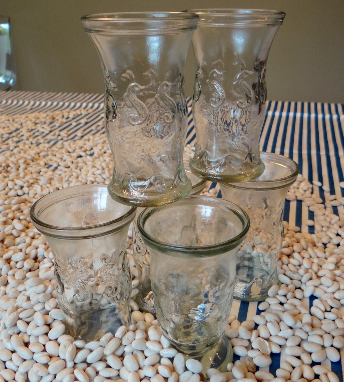 set of six retro shrimp cocktail glasses. Black Bedroom Furniture Sets. Home Design Ideas