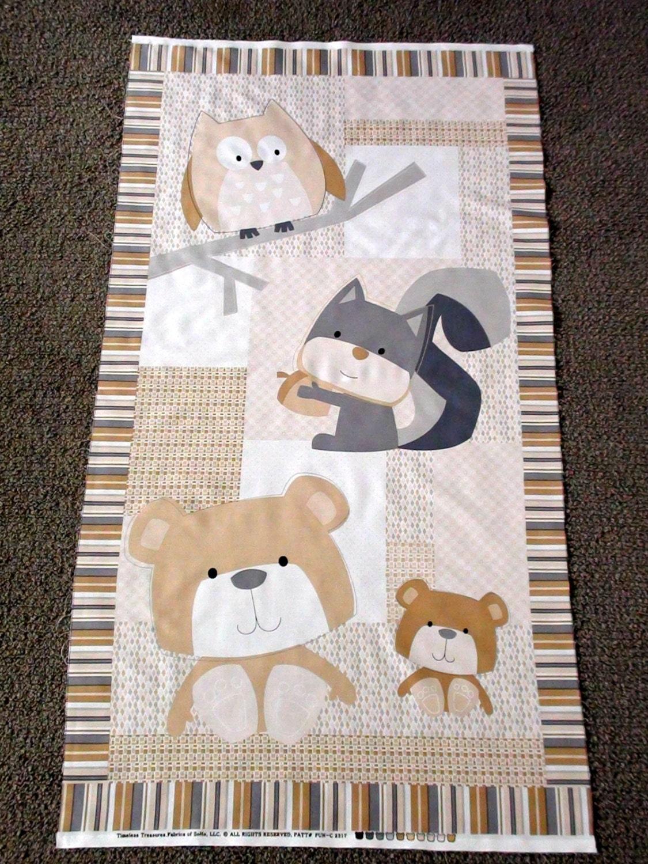 Baby fabric panel woodland animal unisex baby by for Unisex baby fabric