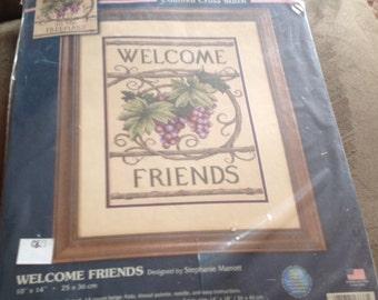Sunset Counted Cross Stitch Kit 13733 Welcome Friends Grape Vine Leaves Housewarming Gift Idea Stocking Stuffer