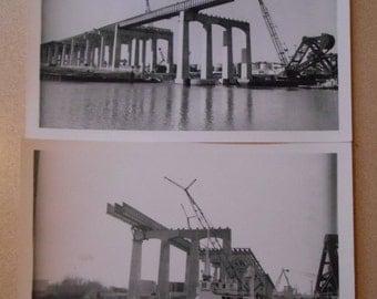 Vintage Photo Snap Shot Bridge Construction Industrial Photo Bridge River Crane