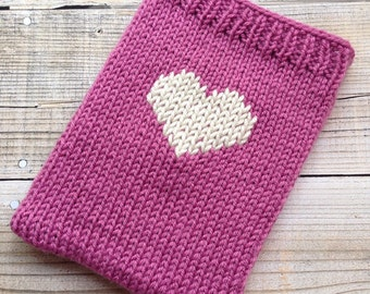 Pink tablet cosy sleeve sock with heart