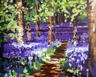 Bluebell Stroll mounted print of an original oil painting by Tracy Butler