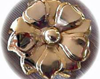 Gold Flower Head Brooch