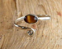 Silver Toe Ring, Adjusable Toe Ring, Tiger Eye Toe Ring, Foot Accessories, Foot Ring, Stone Toe Ring, Band Toe , Foot Jewelry
