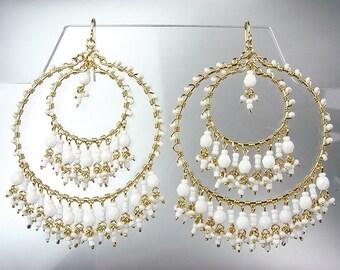 GORGEOUS White Agate Crystal Beads Chandelier Dangle Earrings, Bohemian Earrings, Cascading Dangle Earrings, FREE SHIPPING!