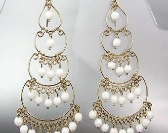 GORGEOUS White Crystal Beads Chandelier Dangle Earrings, Bohemian Earrings, Cascading Dangle Earrings, FREE SHIPPING!