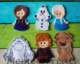 Set of 6 Finger Puppets - Inspired by Frozen story