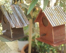 Wooden Bird House (Package of 3), Birdhouse, Hand Painted, Rustic Bird House, Vintage Wall Decor