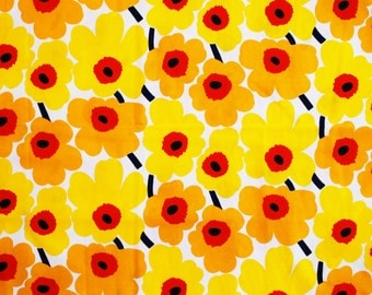 Marimekko Finland Mini Unikko yellow/orange cotton fabric, 145x50cm