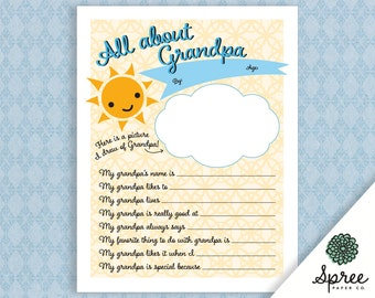 All About Grandpa Printable | Father's Day Printable | Grandpa Printable | Father's Day Gift | Printable Questions | Teacher Printables
