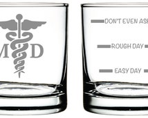 Medical Doctor MD Glass- Set of 2 -Old Fashioned Glass -Funny Personalized Etched Glasses
