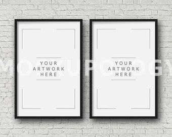 8x12 set of two vertical digital black frame mockup styled photography poster mockup white brick background triptych instant download