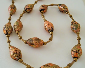 Black and Gold Paper Bead Necklace