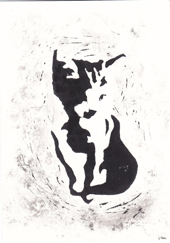 Gravure chaton noir et blanc dessin d 39 animaux par - Dessin noir blanc ...
