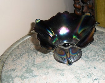Antique Carnival Glass - Vintage Northwood Electric Purple ''DRAPERY'' Candy Dish - Iridescent Glass - Collectible Art Glass (156)