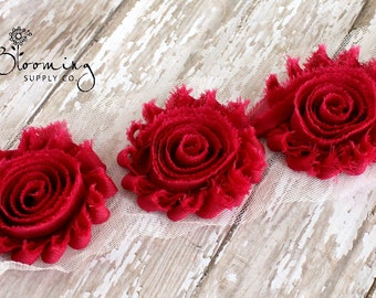 Fuchsia Shabby Rose Trim - 1/2 Yard Shabby Chiffon Rose Trim - Wholesale Flowers - Boutique Hair Supplies - DIY Headband Supplies