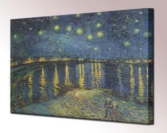 Van Gogh Starry Night Over The Rhone Canvas Print Home Decor Canvas Art Wall Decor Interior Design Print Ready To Hang