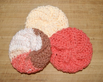 Cotton Crochet Pot Scrubber- Set of Three, Neapolitan