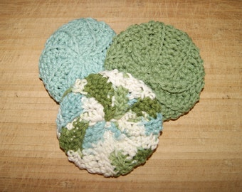 Cotton Crochet Pot Scrubbers- Set of Three. Seaspray