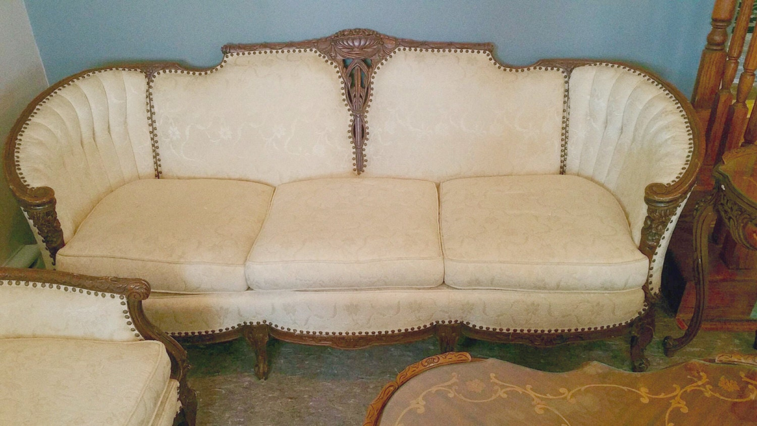 sold french provincial living room set by estatesalechicago