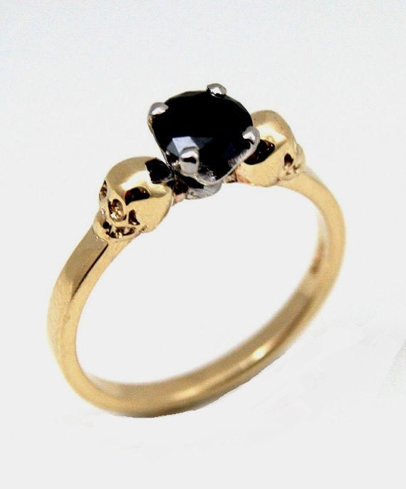 skull ring 9ct gold unique crafted by