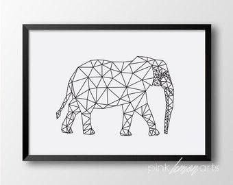 Elephant print, Geometric animal, Black and white home decor, Printable art, Scandinavian style, Wall print 188
