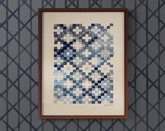 Tapestry in Navy Blue art print