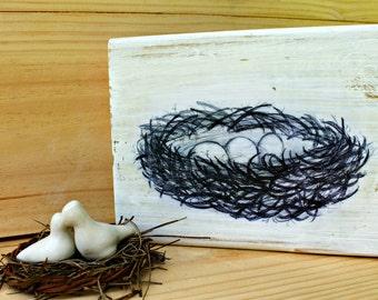 Bird Nest Print on Wood Block Shelf Sitter/Original Art on Wood/Cottage Decor/Nest Print/Eggs in Nest/eggs and nest/Distressed Wood Art