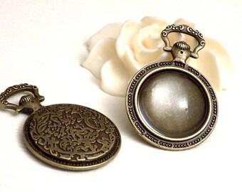 Support cabochon couleur bronze forme montre à gousset + cabochon en verre 20 mm