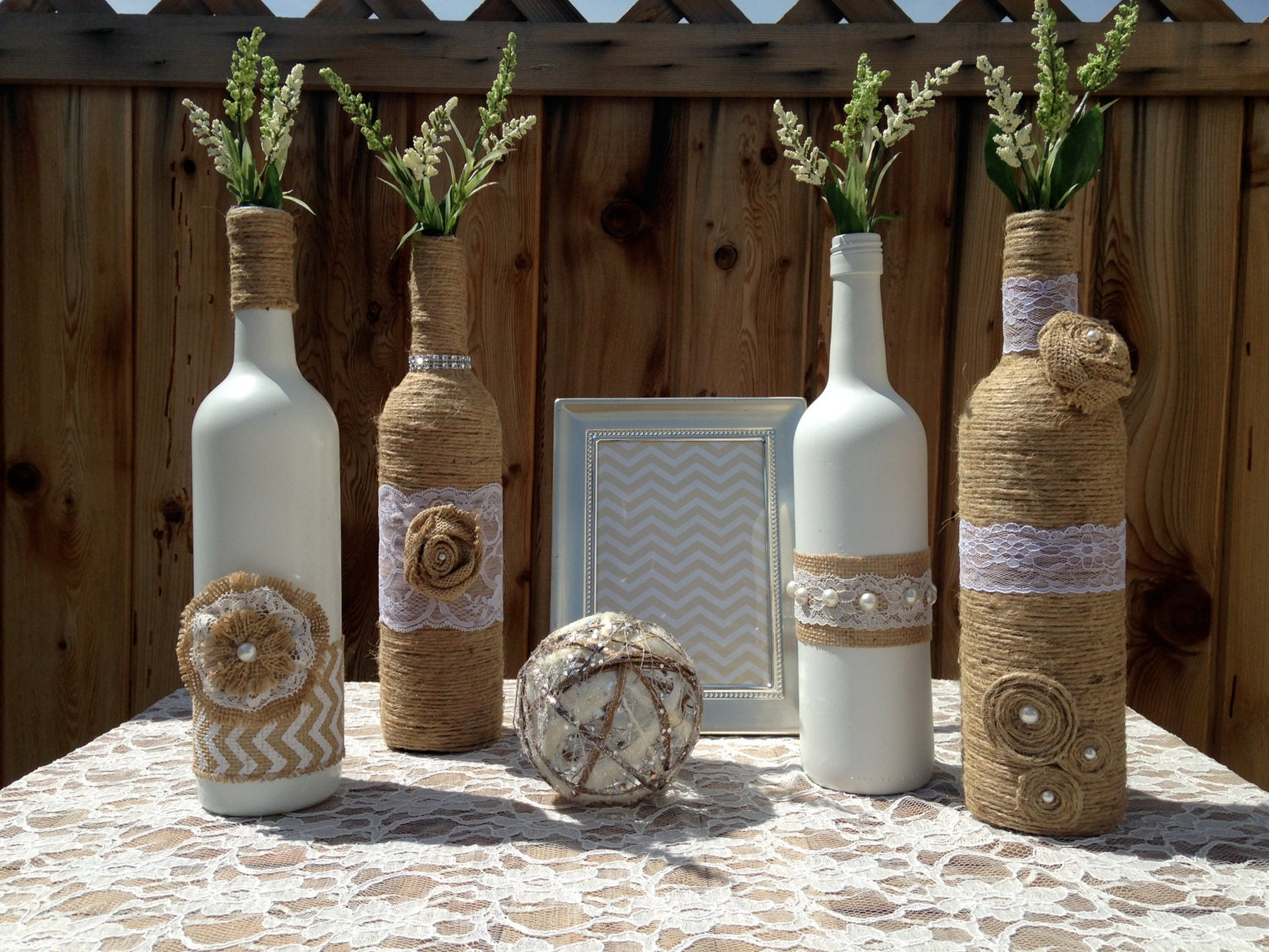 Wedding Table Wine Bottle Wedding Table Decorations wedding centerpieces vases shabby chic rustic