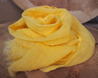 Linen Scarf, Eco Scarf, Natural Scarf, Yellow Scarf