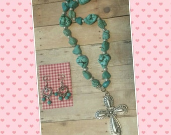 Turquoise Cross Necklace with Earrings (set)
