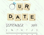 Scrabble Save the Date -DIY PRINTABLE FILE