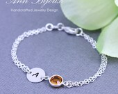 Sterling Silver Initial with Birthstone Bracelet, Personalized Initial Stone Bracelet, Bridesmaid Bracelet, Mothers Bracelet, Mother Gift