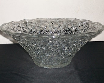 Punch Bowl//Crystal Punch Bowl//Party Punch Bowl//Crystal Glass Punch Bowl//Fruit Bowl//Vintage French Glassware//Found And Flogged