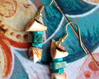 Turquoise and Shell Beaded Earrings