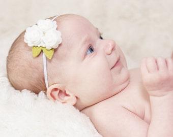 White Flower Headband Felt Rose Trio or Alligator Clip for Newborn Baby Toddler Child Flower Girl