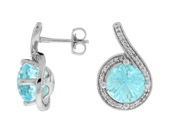 White Diamond & Blue Topaz Earring in 14K White Gold