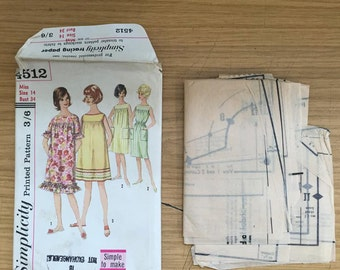 Simplicity Printed Pattern 4512 Late 60's