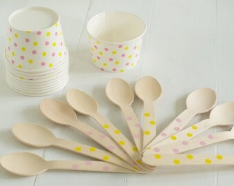 Pink and Yellow Dot Ice Cream Social Kit- Set of 10 Ice Cream Cups and Wooden Spoons
