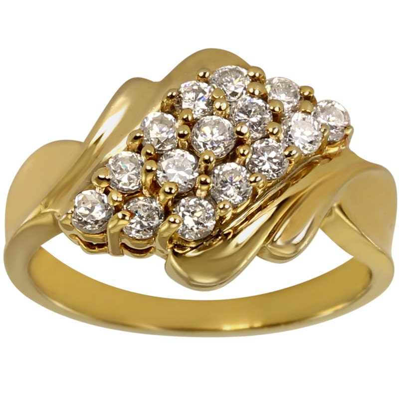 Ladies cz waterfall cluster ring in heavily plated 14k gold for Waterfall design ring