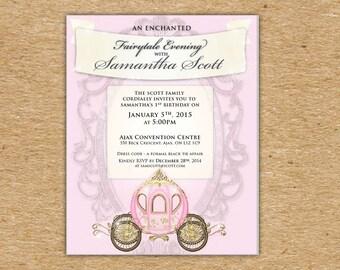 Fairytale Invitation 2 - Digitally PERSONALIZED for Web & Print - Princess Theme - Pretty Pink Princess Birthday Party Fairytale