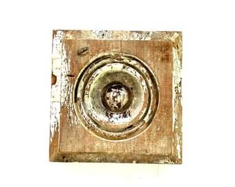 Antique Wood block Plinth Bulls eye Shabby chippy